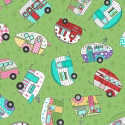 3619-002 Retro Road Trip - Camper Toss - Green Fabric