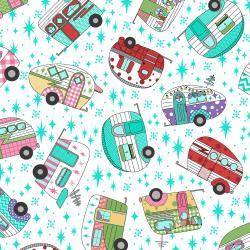 3619-003 Retro Road Trip - Camper Toss - White Fabric