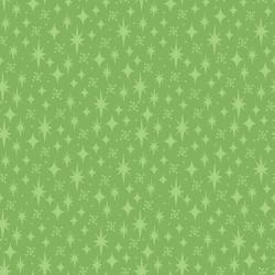 3621-004 Retro Road Trip - Stars - Green Fabric
