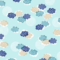 TS100-SB3 Happy Day - Clouds - Sky Blue Fabric