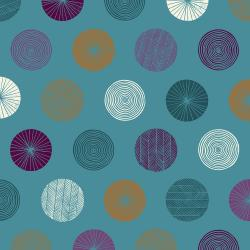 TS105-TE3 Happy Day - Circle - Teal Fabric