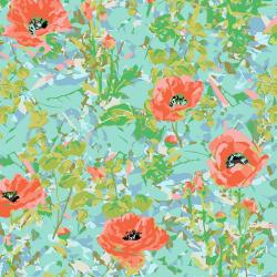 VF400-AQ1 Wild Acres - Poppy - Aqua Fabric