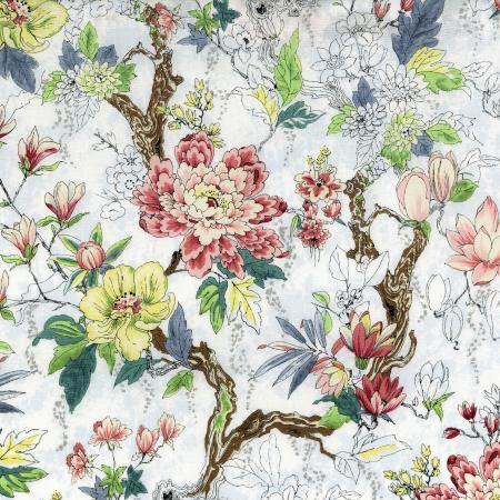 3250-001 Serene Spring - New Blooms - Frost Metallic Fabric