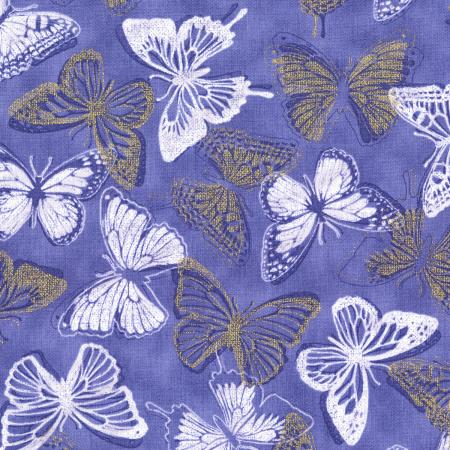 3020-001 Shiny Objects - Butterfly Bourree - Periwinkle Metallic Fabric