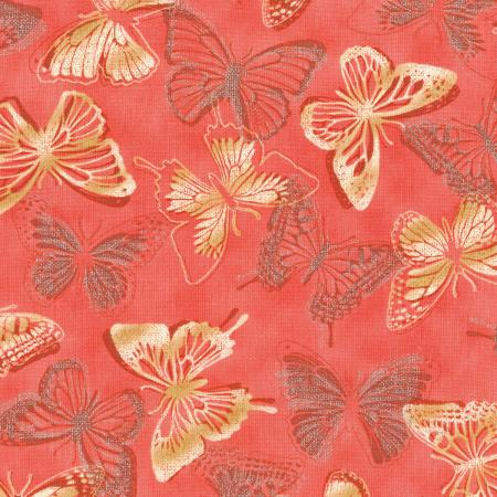 3020-002 Shiny Objects - Butterfly Bourree - Coral Metallic Fabric