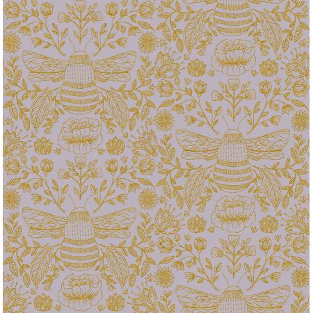 JM202-DU3M Summer in the Cotswolds - Bee\'s Knees - Dusk Metallic Fabric 1