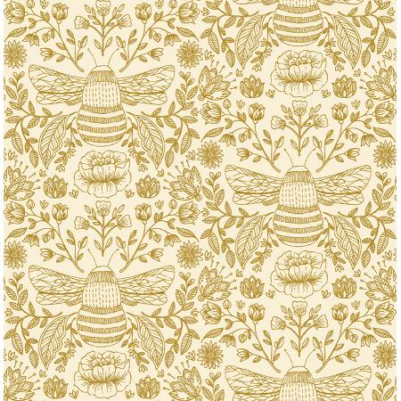 JM202-HN2M Summer in the Cotswolds - Bee\'s Knees - High Noon Metallic Fabric 1