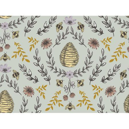 JM203-SA3M Summer in the Cotswolds - Beehive - Sage Metallic Fabric 1
