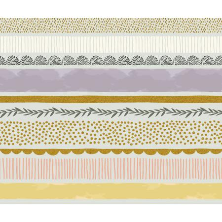JM204-MI3M Summer in the Cotswolds - Bumble Bee - Mist Metallic Fabric 1