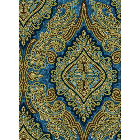 3579-001 Aruba - Paisley - Teal Gold Fabric