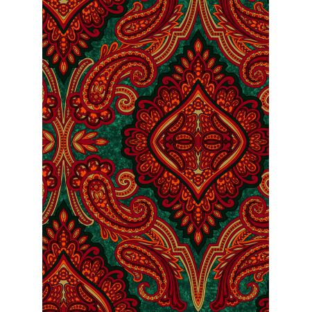 3579-005 Holiday Aruba - Paisley - Red Green Fabric