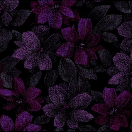 3420-003 Midnight Garden - Packed Floral - Purple Fabric