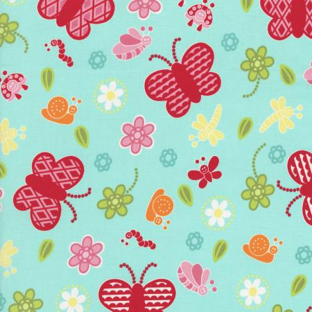 2628-003 Bugsy - Butterflies - Teal Fabric