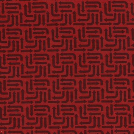 3406-003 Traffic Jam - Arrows - Red Fabric