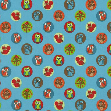 2208-003 Woodland Park - Chipmunk & Friends - Teal Fabric