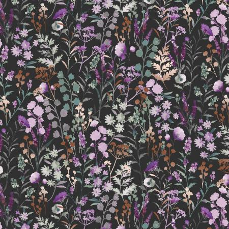 PS102-PE3M Lilac & Sage - Wildflowers - Pebble Copper Pearl Metallic Fabric 1