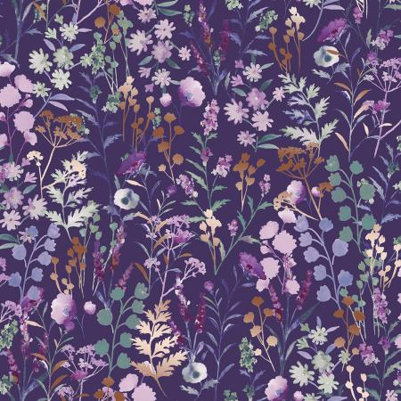 PS102-PU1M Lilac & Sage - Wildflowers - Purple Copper Pearl Metallic Fabric 1