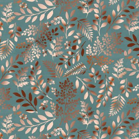 PS103-TE2M Lilac & Sage - Leaves - Teal Copper Pearl Metallic Fabric 1