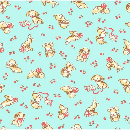 3592-002 Everything But The Kitchen Sink XIV - Playful Puppies - Aqua Fabric