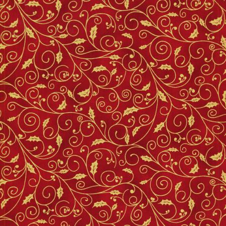 0781-003 Holiday Accents Classics - Holiday Holly Swirl - Red Fabric
