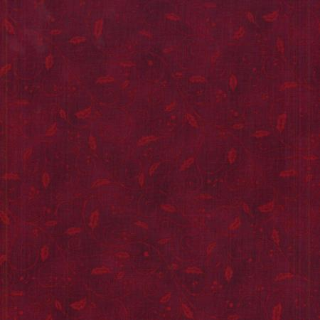 0784-005 Holiday Accents Classics - Holly Swirl - Dark Red Fabric