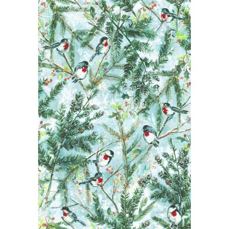 RJ401-FR1D Pineview - Chickadee Cheer - Frost Digiprint Fabric