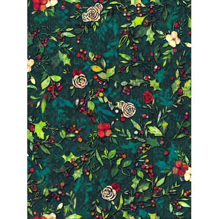 RJ404-HO2D Pineview - Festive Flora - Holly Digiprint Fabric