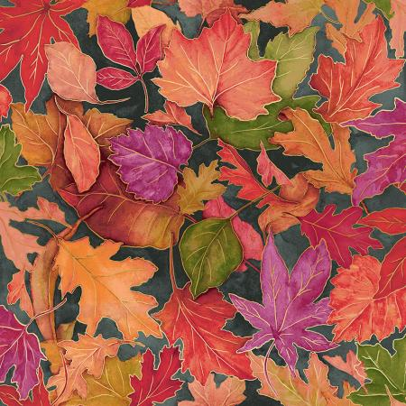 RJ701-SL2M Shades of Autumn - Colorful Foliage - Slate Metallic Fabric