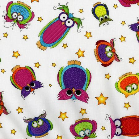 3123-003 Happy Owl-O-Ween - Owls Everywhere Toss - Ghost White Fabric